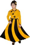 KAARIGARI Girls Maxi/Full Length Party Dress(Yellow, Full Sleeve)