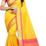 Yashika Woven Daily Wear Cotton Silk Saree(Yellow)