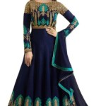Trilok Fab Girls Maxi/Full Length Party Dress(Multicolor, Full Sleeve)