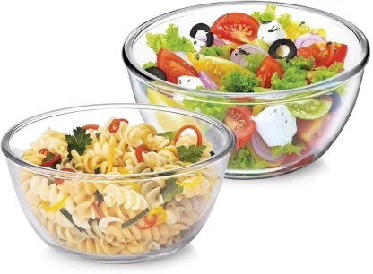 treo microwave safe mixing bowl combo of 2 borosilicate glass serving bowl