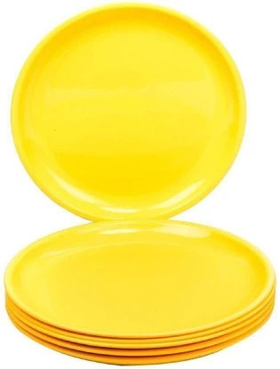 bright shop round quarter plastic plates yellow microwave safe pack of 6 quarter plate