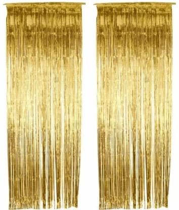 urvi creations tinsel metallic golden foil fringe curtains