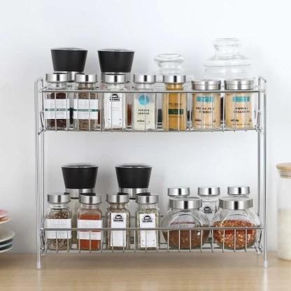 impulse stainless steel 2 tier kitchen rack spice shelf kitchen pantry storage organizer silver chrome plate kitchen rack