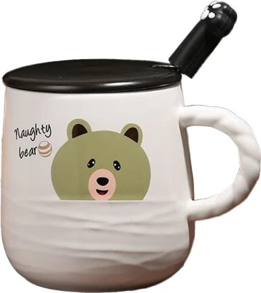 Bonzeal Bear Coffee Cup With Lid Tea Cup Birthday Gift For Friends Quirky Gifts For Boy Girl Men Women Ceramic Coffee Mug Price In India Buy Bonzeal Bear Coffee Cup With