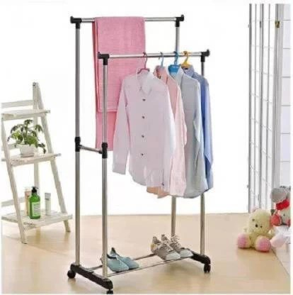 nilzone aluminium floor cloth dryer stand double pole clothes hanger adjustable and portable clothes hanger laundry rack hanger dress drying