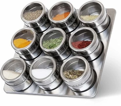 premsakhi 9 pieces magnetic spice jars set stainless steel salt and pepper spray shakers spice rack seasoning box 9 piece salt pepper set
