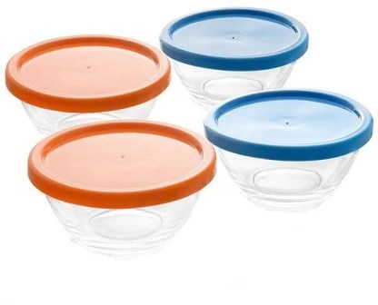 original happy home microwave safe 4 pcs glass bowl with lid 400 ml glass storage bowl