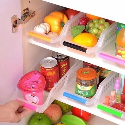 newon 4 pcs plastic fridge space saver organizer storage rack tray box refrigerator storage organisers for fruits vegetables cold drink 100 ml