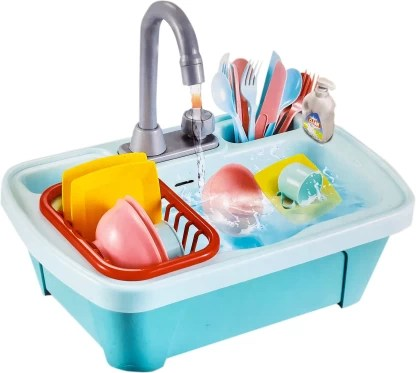 toy shack premium pretend play kitchen sink toys electric dishwasher with automatic running water system wash up kitchen toys for kids boys and girls