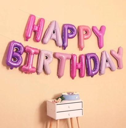 Flipkart Com Amfin Solid 16 Inch Happy Birthday Foil Balloon Set For Birthday Party Supplies Happy Birthday Balloons For Birthday Decoration Pink And Purple Balloon Balloon