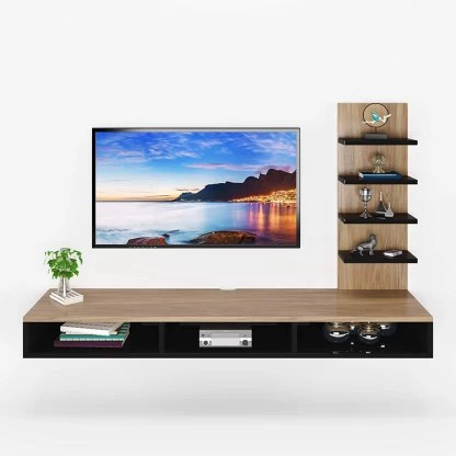 furnifry wooden wall mounted tv stand tv entertainment unit tv cabinet with utility shelves for set top box decorative objects set top box
