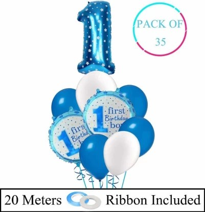 Decor My Party First Birthday Party Decoration Items For Baby Boy 1st Birthday Decorations Items With 1 Number Metallic Balloon Price In India Buy Decor My Party First Birthday