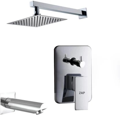 zap zxr24140 brass concealed square body diverter full set with overhead shower and bath tub spout chrome faucet set