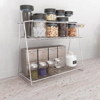 swingzy stainless steel spice 2 tier trolley container organizer organiser basket for boxes utensils dishes plates for home multipurpose kitchen