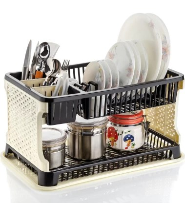 2mech new 3 in 1 large sink set dish rack drainer drying rack washing basket with tray for kitchen dish rack organizers utensils tools cutlery dish