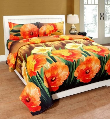 RAYMONDS 140 TC Microfiber Double Floral Bedsheet