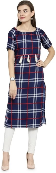 Casual Checkered Women Kurti  (Multicolor)