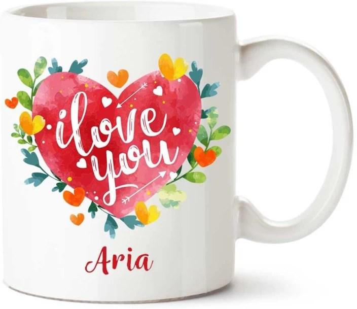 Comogift Aria I Love You Ceramic Coffee Name Ceramic Mug