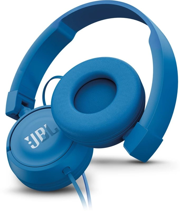 JBL T450 PureBass Headset with Mic(Blue, On the Ear)