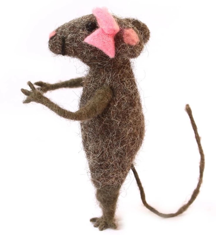 De Kulture Works Minnie Mouse Soft Toy and Showpiece I handmade Needle Felted Mini Mouse Hanging Toy I Home & Garden Decor, Car Decor I 2*2*4 LWH (Inches) - 10.16 cm(Brown)