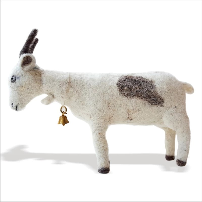 De Kulture Works Goat Soft Toy and Showpiece I Handmade Needle felted Goat Soft Toy, Figurine, Home & Office Decor - 4 inch(Multicolor)