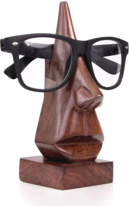 Gadget Deals Wooden Nose Shaped Spectacle Specs Holder Goggle Stand Showpiece - 16.5 cm(Wooden, Brown)