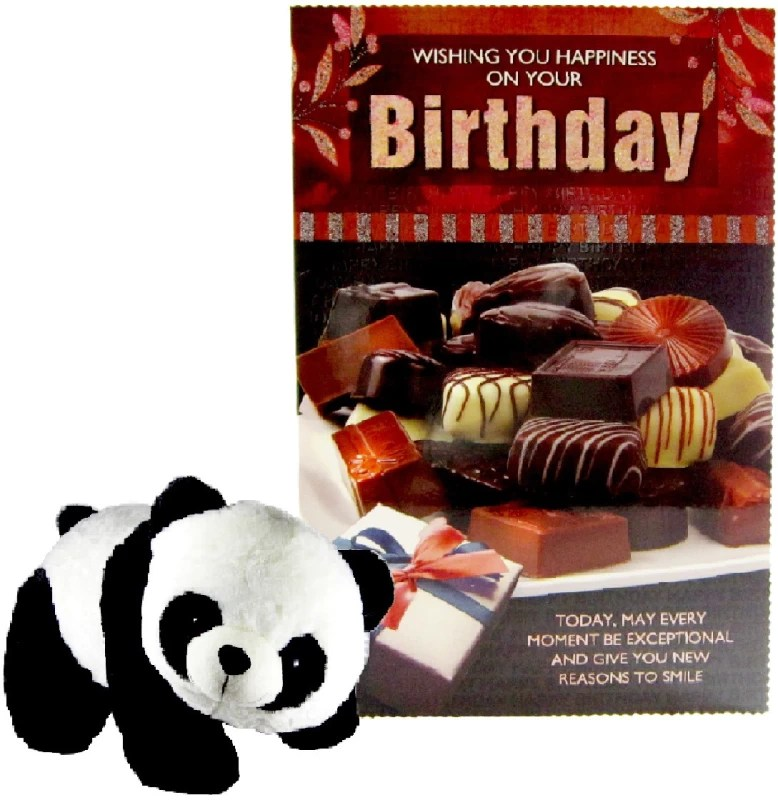 Gift Decor Shop soft toy 32 cm panda with Birthday Greeting card for loveone - 32 cm(Multicolor)