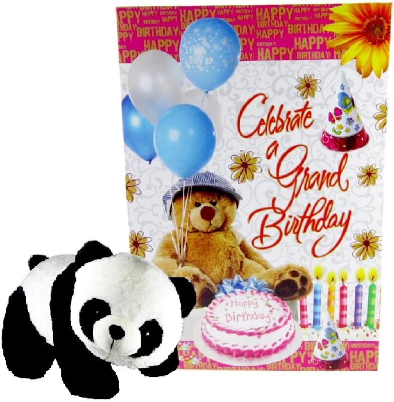 Gift Decor Shop teddy bear soft panda toys 32 cm with Birthday Greeting card - 32 cm(Multicolor)