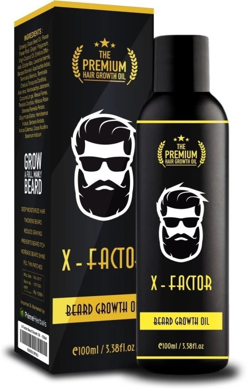 Prime Herbals Organic X-Factor Premium Beard Growth, Conditioning & Moisturizing Oil - Prevents Itching & Hair Graying/ Non-Sticky & Shiny Beard/ Fills Thin Patches/ Stimulates Hair Growth - Made of Natural Ingredients Hair Oil(100 ml)