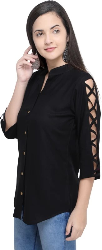 FABMORA Women Solid Casual Black Shirt