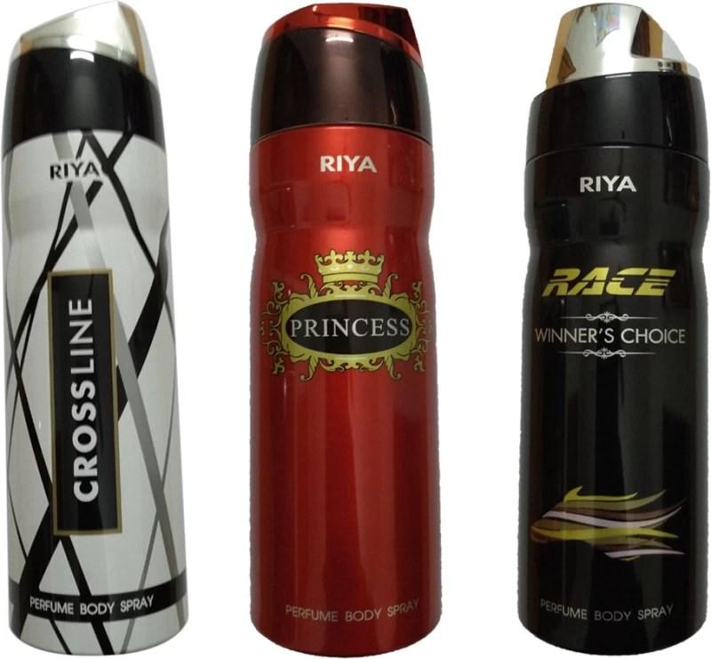 Riya 1 CROSS LINE DEODORANT 200ML+ 1 PRINCESS DEODORENT 200ML+ 1 RACE WINNER'S CHOICE DEODORENT 200ML Deodorant Spray - For Men & Women(200 ml, Pack of 3)