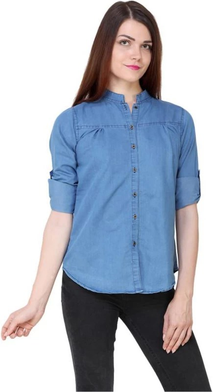 C.Cozami Women Solid Casual Light Blue Shirt