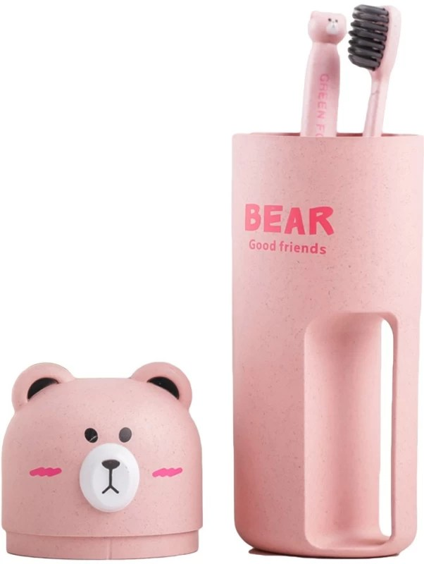 Max Home Pink Free Standing/ Travel Portable Toothbrush Box/Toothpaste Holder Organizer/ Toothbrush Case