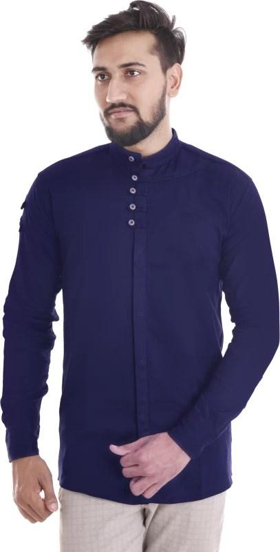 VERO LIE Men Solid Casual Dark Blue Shirt