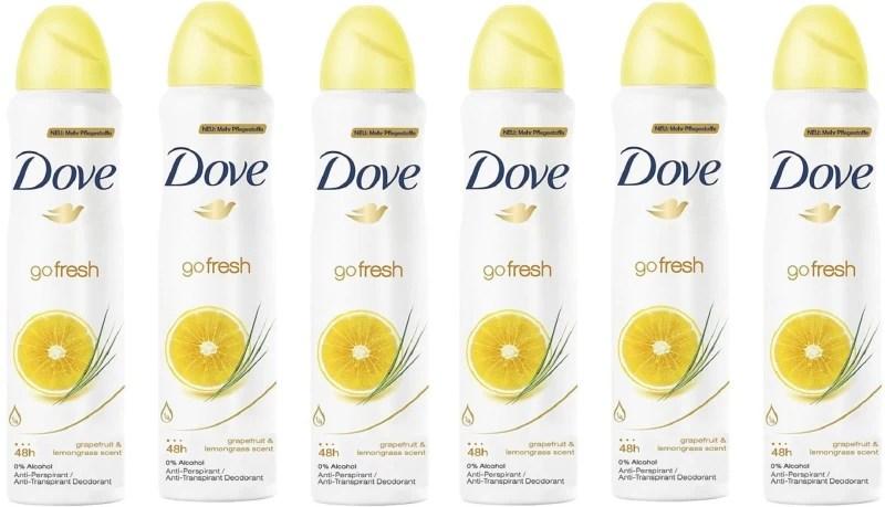 Dove Go Fresh Grapefruit & Lemongrass Anti-Perspirant Spray 0% Alcohol 150ml Each (Pack of 6) Deodorant Spray - For Women(900 ml, Pack of 6)