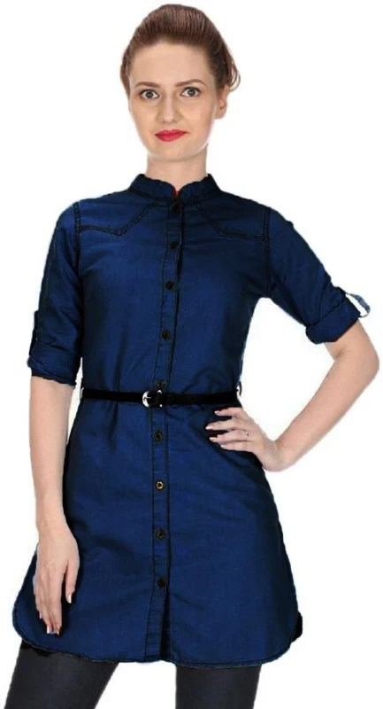C.Cozami Women's Solid Casual Dark Blue Shirt