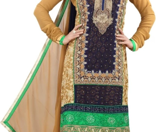 Desi Girl Synthetic Georgette Embroidered Salwar Suit Dupatta Material Un Stitched
