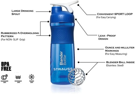 Strauss Blender Bottle 760 ml Shaker, Sipper
