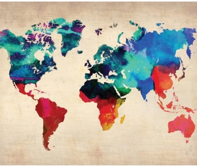 World Map Watercolor Like Artistic Poster For Home Office X Paper Print