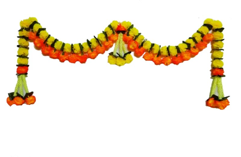 Afarza Artificiall Flower Toran Garland Of Marriegold N Mango Leaves For Home Decoration Main Door Hanging