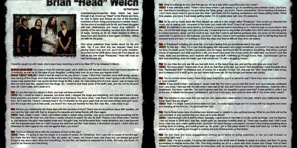 """Brian """"Head"""" Welch, Artist Interview"""