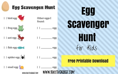 Egg Scavenger Hunt Free Printable Download. Goes with book: Egg: Nature's Perfect Package. The Nature Book Club