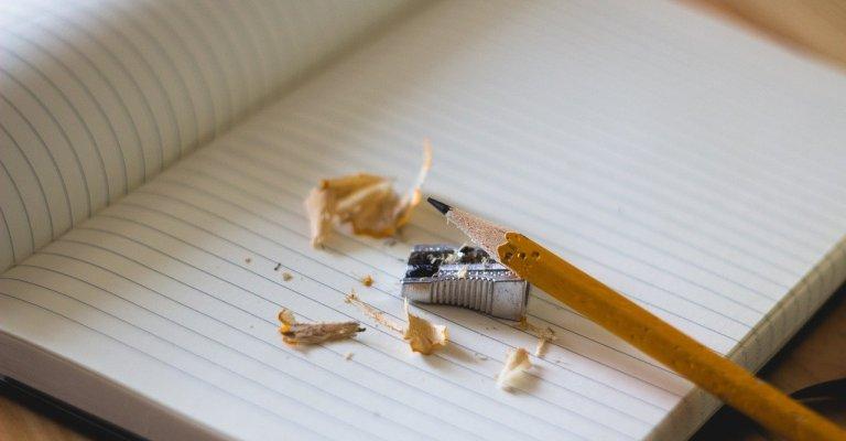 pencil, sharpener, notebook