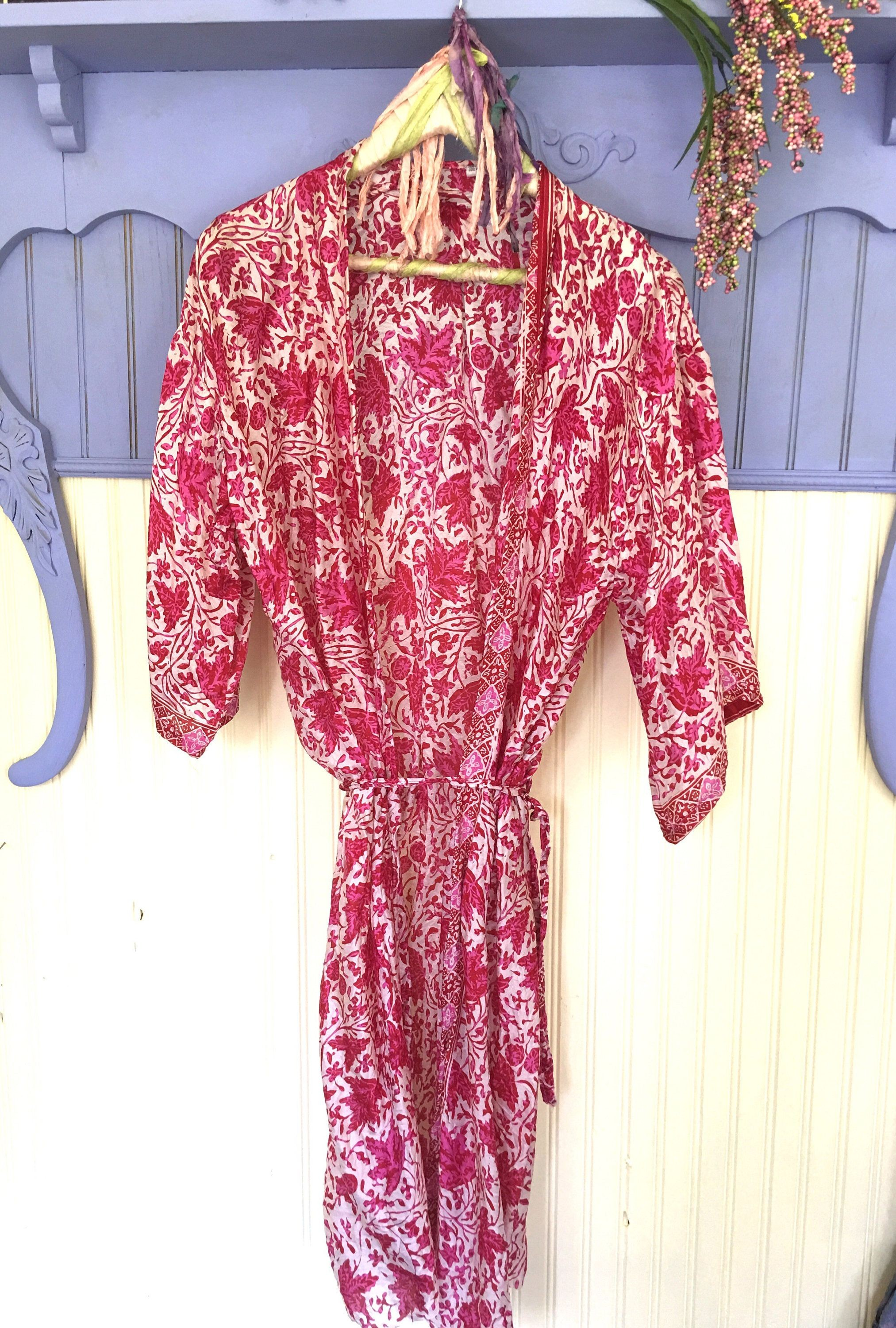 Ubud Bali Red and Pink Balinese Silk Robe by peacefulnomaddesign on Etsy
