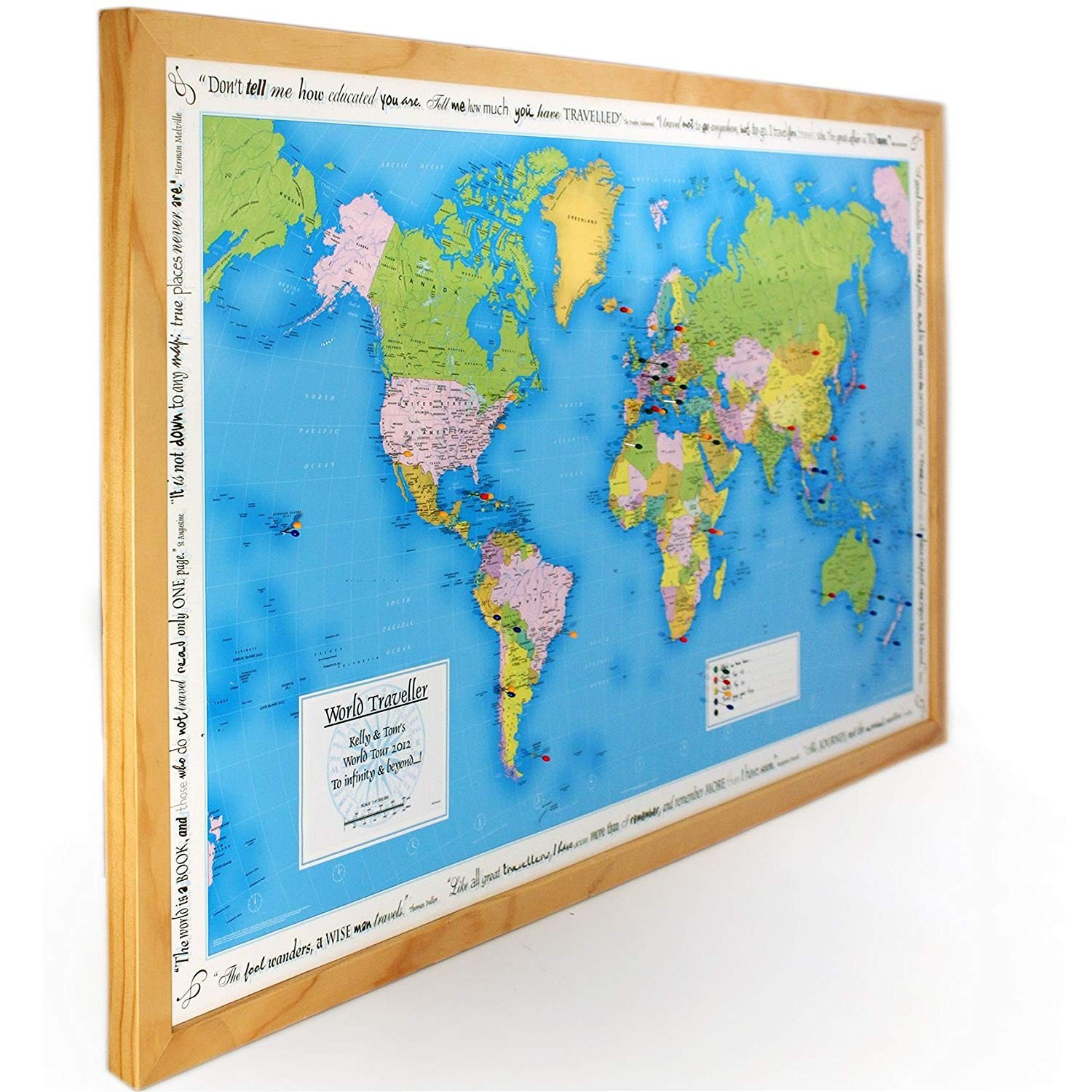 Personalised World Traveller Map in light wood Amazon Kitchen & Home
