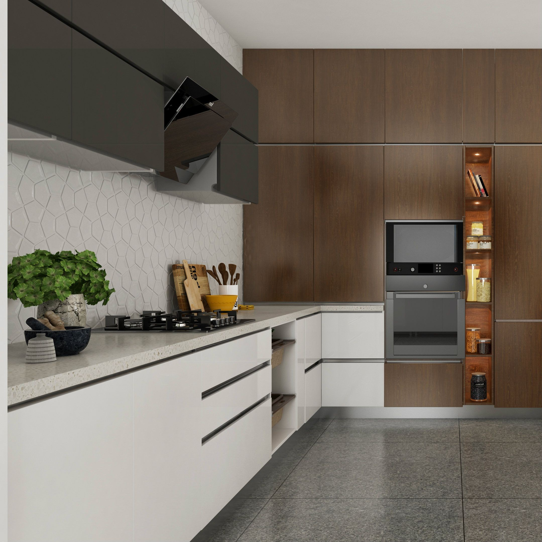 Black and white modular kitchen with a wooden accent wall for built in appliances the back splash features a cracked tile look Black white wood= luxury
