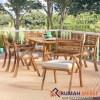 Set Meja Makan Outdoor Coyne Kayu Jati 6 Kursi