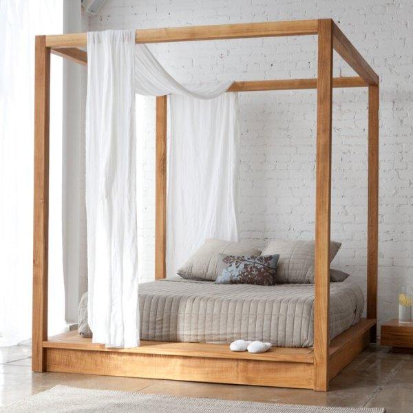 Tempat Tidur Kelambu Minimalis Jati