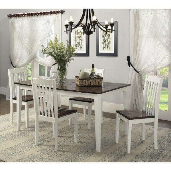 Meja Makan Kayu Minimalis 4 Kursi Putih Dawson