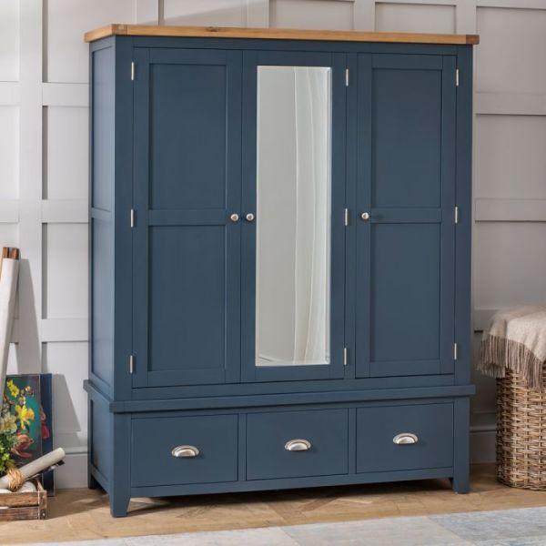 Lemari Baju Minimalis 3 Pintu West Blue